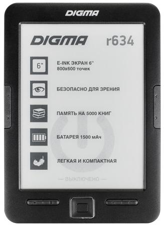 Электронная книга Digma R634 6 E-Ink 4Gb черный