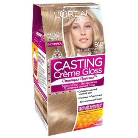 LOREAL CASTING CREME GLOSS Крем-краска для волос тон 910 очень светлый светло-русый пепельный недорого