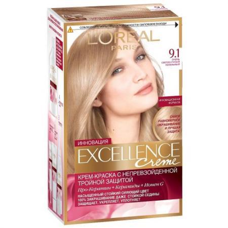 LOREAL EXCELLENCE Краска для волос тон 9.1 очень светло-русый пепельный