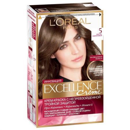 LOREAL EXCELLENCE краска для волос тон 5 светло-каштановый красный уход guam upker kolor 5 0 цвет светло каштановый 5 0 variant hex name 5a4741