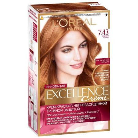LOREAL EXCELLENCE Краска для волос тон 7.43 Медный русый loreal excellence краска для волос тон 9 1 очень светло русый пепельный