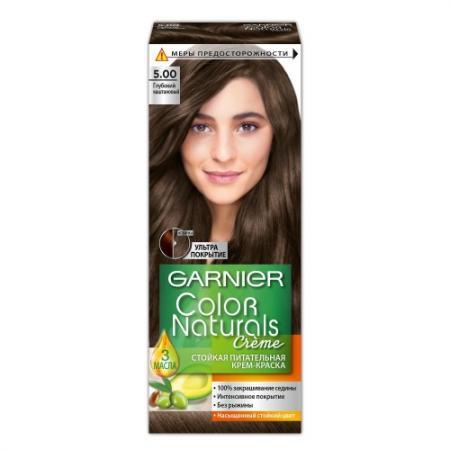 GARNIER Краска для волос Color Naturals 5.00 Глубокий каштановый garnier стойкая крем краска для волос olia без аммиака оттенок 5 9 сияющий каштановый бронз