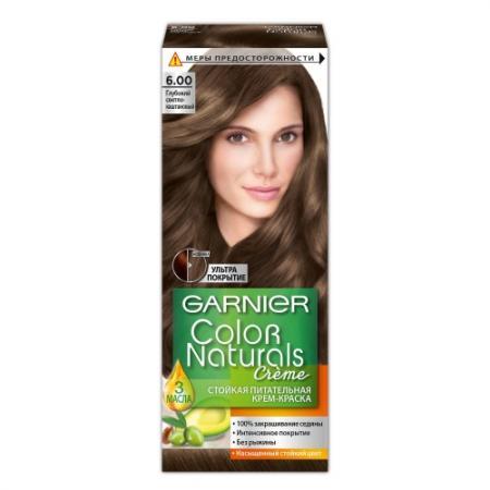 GARNIER Краска для волос Color Naturals 6.00 Глубокий светло-каштановый garnier стойкая крем краска для волос olia без аммиака оттенок 5 9 сияющий каштановый бронз