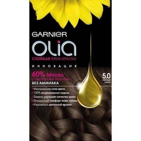 GARNIER Краска для волос OLIA 5.0 Светлый шатен garnier стойкая крем краска для волос olia без аммиака 10 1 пепельный блондин