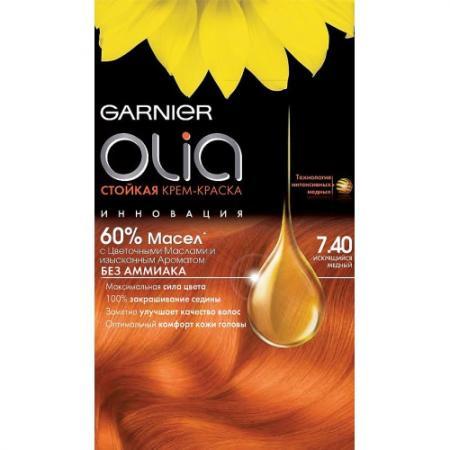 GARNIER Краска для волос Olia 7.40 Искрящийся медный garnier стойкая крем краска для волос olia без аммиака 10 1 пепельный блондин