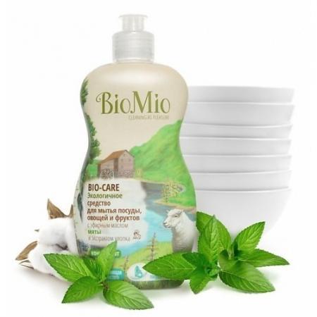 BioMio Концентрат экологичный для мытья посуды, овощей и фруктов Bio-Care с эфирным маслом мяты, экстрактом хлопка и ионами серебра 450мл средство для мытья посуды овощей и фруктов biomio с эфирным маслом мяты 450 мл