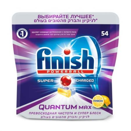 FINISH Таблетки для мытья посуды в посудомоечных машинах Quantum Max Лимон 54шт finish quantum блеск и защита 20 таблеток