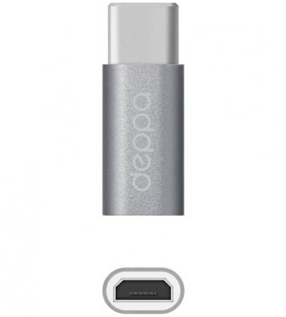 Адаптер Deppa Type-C - micro USB алюминий серый 73116 аксессуар deppa usb type c microusb dep 73116