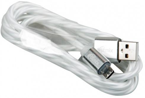 Кабель microUSB 1м Ritmix RCC-312 витой ritmix rcc 312 white кабель usb microusb 1 м