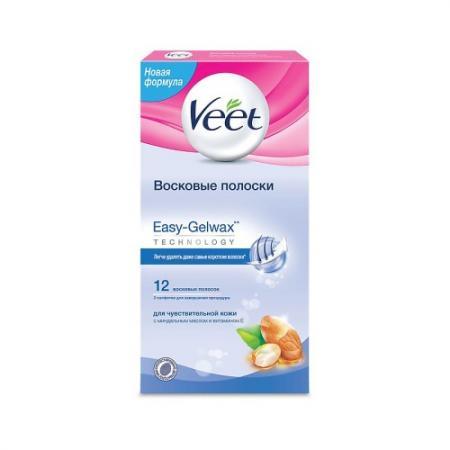 VEET Восковые полоски для чувствительной кожи c технологией Easy Gel-wax 12шт полоски восковые veet миндальное масло витамин е д чувств кожи 12шт