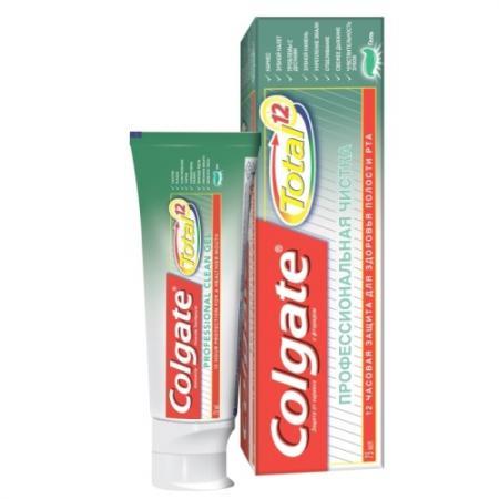 Зубная паста-гель Colgate Total 12. Профессиональная чистка 75 мл colgate зубная паста total 12 pro межзубная чистка 75 мл