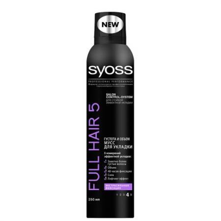 Мусс для волос SYOSS Full Hair 5 250 мл шампунь full hair 5 густота и syoss шампунь full hair 5 густота и