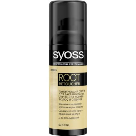 Syoss Root Retoucher Тонирующий спрей для закрашивания отросших корней и седины Блонд спрей тонирующий syoss root retoucher черный 120мл активатор цвета