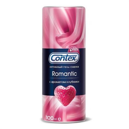 CONTEX Гель-смазка интимный Plus Romantic с ароматом клубники 100мл
