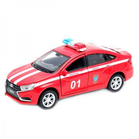 Автомобиль Welly LADA Vesta Пожарная охрана 1:34-39 красный 43727FS welly welly модель машины 1 34 39 lada пожарная охрана