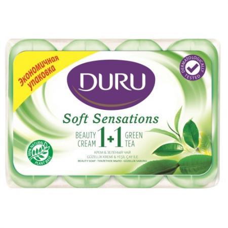 DURU SOFT SENS Мыло Зеленый чай э/пак 4*90г sens 1 3 2008 г