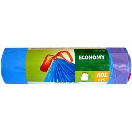 PACLAN Мешки для мусора с завязками ЭКОНОМ 60л 15шт цена