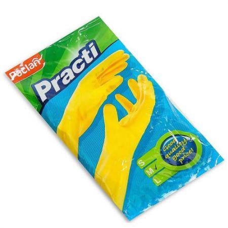 PACLAN Перчатки резиновые Practi размер 7-7.5 желтые M