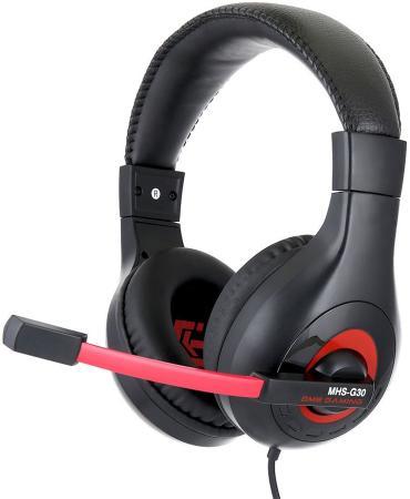 Игровая гарнитура проводная Gembird MHS-G30 черный красный игровая гарнитура проводная marvo h8321 черный красный