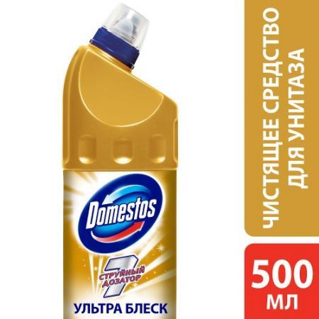 DOMESTOS Средство чистящее для унитаза Ультра блеск 500мл средство чистящее domestos лимонная свежесть 1000мл