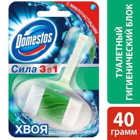 DOMESTOS Гигиенический блок для унитаза Хвоя 40г блок для очищения унитаза domestos power 5 свежесть лайма 2 х 55 г
