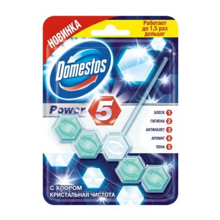 DOMESTOS Блок для очищения унитаза Power 5 с хлором Кристальная чистота 55гр блок для очищения унитаза domestos power 5 свежесть лайма 2 х 55 г