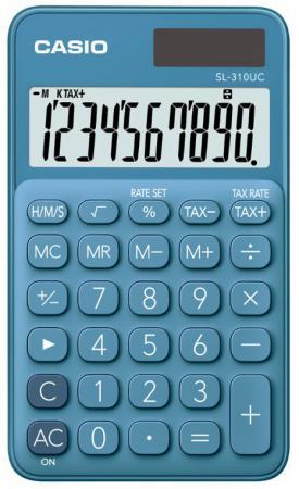 Калькулятор карманный CASIO SL-310UC-BU-S-EC 10-разрядный синий калькулятор casio sl 310uc gn s ec 10 разрядный зеленый