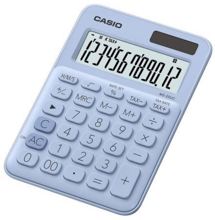 Калькулятор настольный CASIO MS-20UC-LB-S-EC 12-разрядный голубой калькулятор печатающий casio fr 2650rc w ec 12 разрядный серый белый