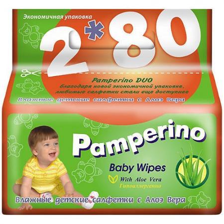 PAMPERINO DUO Салфетки влажные детские с Алоэ вера 2*80шт терезамед салфетки влажные очищающие с алоэ вера 80