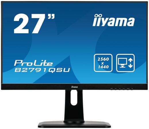 Монитор 27 iiYama ProLite B2791QSU-B1 черный TN 2560x1440 350 cd/m^2 1 ms DVI HDMI DisplayPort USB монитор 27 iiyama prolite b2791hsu b1 tn led 1920х1080 1ms dvi hdmi displayport