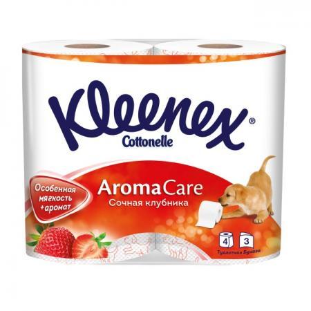 Бумага туалетная Kleenex Сочная Клубника 4 шт растворяются в воде ароматизированная 3-ех слойная 9450128 бумага туалетная regina ромашка 3 ех слойная ароматизированная 12 шт