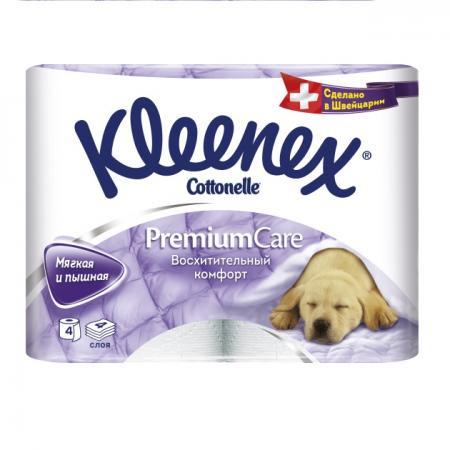 Бумага туалетная Kleenex Премиум Комфорт 4 шт растворяются в воде 4-ех слойная 4284155 бумага туалетная kleenex сочная клубника 4 шт растворяются в воде ароматизированная 3 ех слойная 9450128
