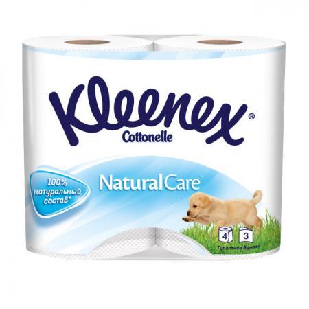 Бумага туалетная Kleenex Natural Care 4 шт растворяются в воде 3-ех слойная 9450288 бумага туалетная kleenex сочная клубника 4 шт растворяются в воде ароматизированная 3 ех слойная 9450128