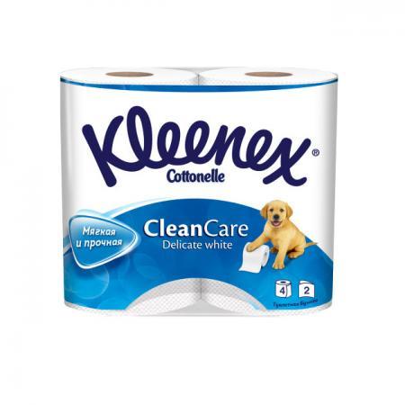 Бумага туалетная Kleenex Clean Care 4 шт 2-ух слойная растворяются в воде 9450004 бумага туалетная kleenex сочная клубника 4 шт растворяются в воде ароматизированная 3 ех слойная 9450128