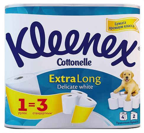 Бумага туалетная Kleenex Extra Long 4 шт растворяются в воде 2-ух слойная 9450045 туалетная бумага kleenex туалетная бумага премиум комфорт 4 слоя 4шт