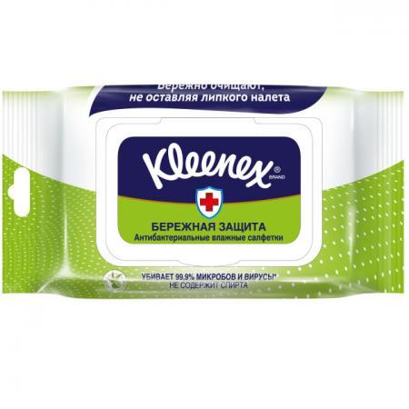 Салфетки влажные Kleenex Антибактриальные 40 шт влажная гипоаллергенные 9440102 салфетки влажные diva 48107 влажная 15 шт