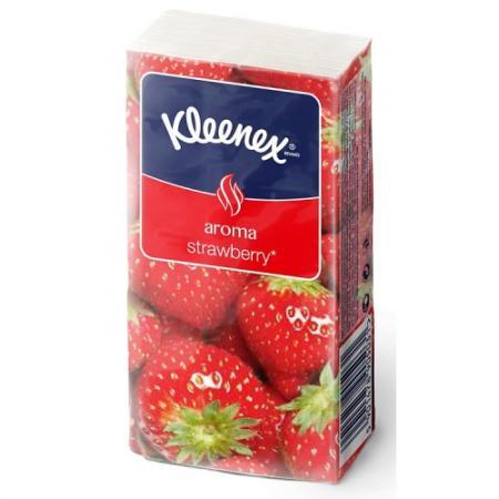 Платочки носовые Kleenex Aroma Клубника 10 шт 3-ех слойная ароматизированная 9470120* от Just.ru