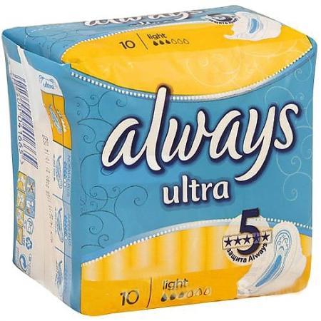 Прокладки впитывающие Always Ultra Light Single 10 шт AL-83715773S always ultra light quatro al 83734556 36шт