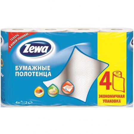 Полотенца бумажные Zewa 144099 4 шт 2-ух слойная без отдушки от Just.ru