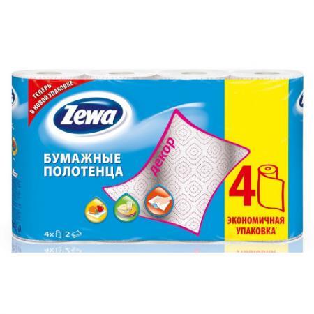 Полотенца бумажные Zewa Декор 4 шт 2-ух слойная без отдушки 144100 от Just.ru