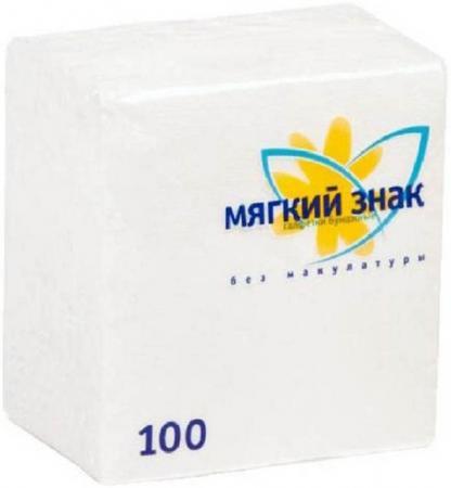 Салфетки бумажные Мягкий Знак 100 шт без отдушки бумажные салфетки duni салфетки бумажные barbeque grill 3 слойные 33х33 см 20 шт