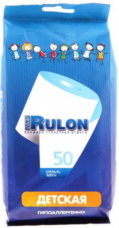 Влажная туалетная бумага Mon Rulon Детская 50 шт не содержит спирта влажная гипоаллергенные влажная туалетная бумага mon rulon 20 шт ароматизированная не содержит спирта влажная гипоаллергенны