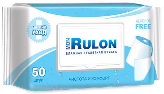 Влажная туалетная бумага Mon Rulon 50 шт не содержит спирта влажная гипоаллергенные fria влажная туалетная бумага umidificata sensitive care био разлогаемая 12 шт уп