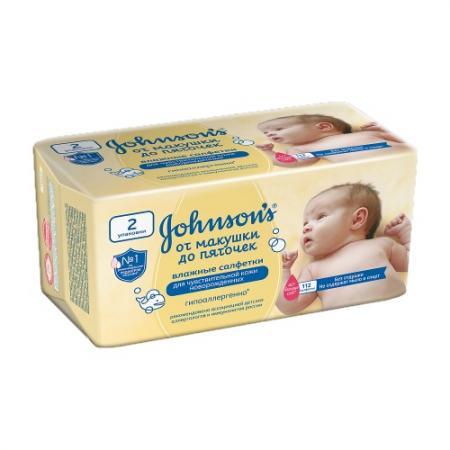Салфетки влажные Johnsons baby От макушки до пяточек 112 шт пропитка лосьёном не содержит спирта без отдушки 90767 johnsons baby для самых маленьких без отдушки 24 шт джонсонс бэби johnsons baby