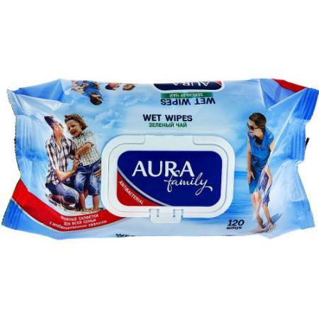Салфетки влажные Aura 8070/6569 120 шт антибактериальные не содержит спирта