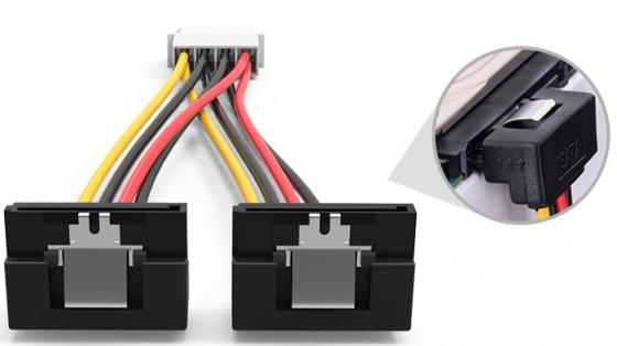 Кабель Molex 4pin- 2xSATA F Vention KDCBB угол 90 кабель molex 4pin 2xsata f vention kdcbb угол 90
