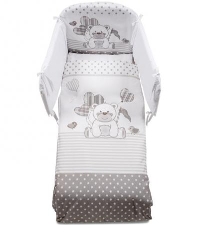 Постельный сет 5 предметов Italbaby Ku Ku (белый-серый-медвежонок-птички-сердечки/100,0034-7) постельный сет italbaby teddy крем 100 0019 6