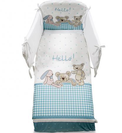Постельный сет 5 предметов Italbaby Helo (белый-голубой-медвежата-зайчик/100,0047-2) постельный сет italbaby teddy крем 100 0019 6