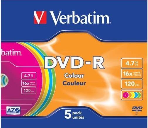 Диски DVD-R 16x 4.7Gb SlimCase (5шт) Color Verbatim [43557] кaрaоке вaенгa dvd диски