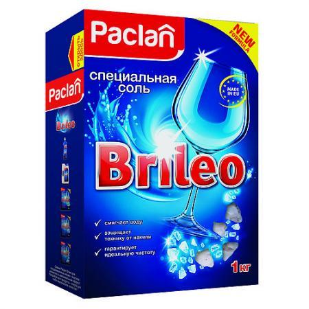 Paclan Brileo Соль специальная для посудомоченых машин 1кг очиститель для посудомоечных машин 250мл paclan brileo 1268100